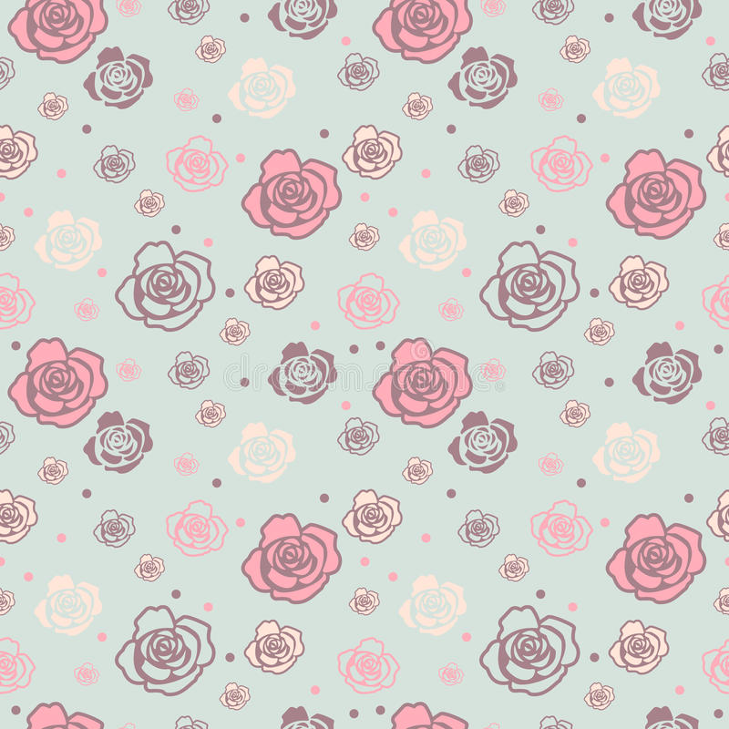Gentle seamless pattern with big and small roses stock photos