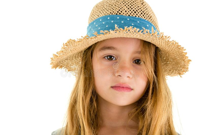 Gentle sincere little girl with a nostalgic look royalty free stock photography
