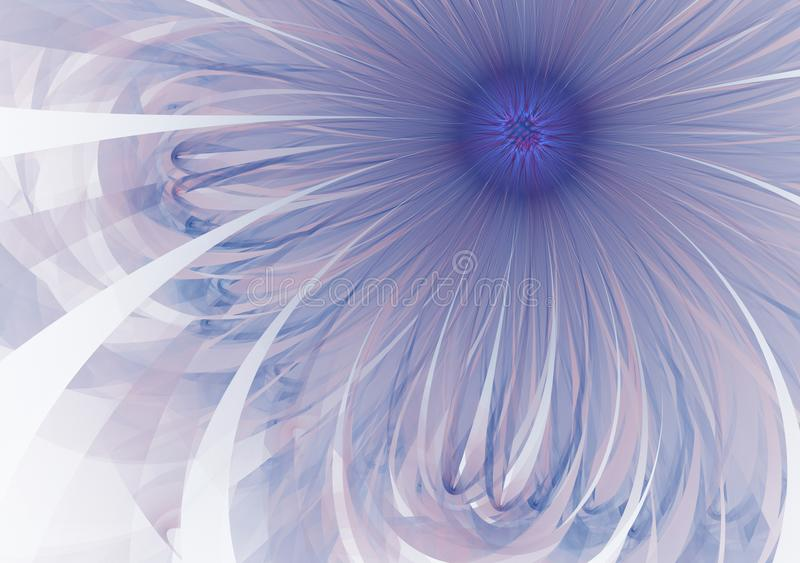 Gentle and soft fractal blue flower computer generated image for logo, design concepts, web, prints, posters. Flower royalty free stock photography