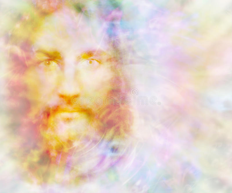 Gentle Spirit. Ethereal golden light forming the face of a gentle spirit on a pastel colored energy field background with copy space on right vector illustration