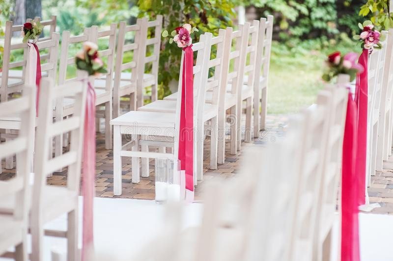 Gentle and stylish wedding decor. Wedding chairs royalty free stock photos