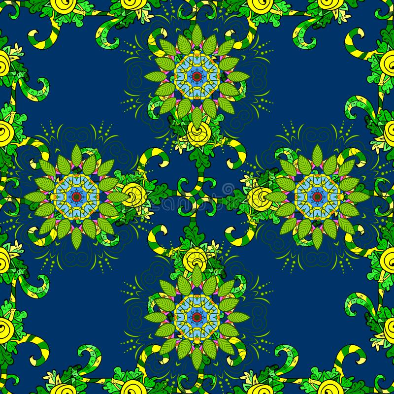 Cute Floral pattern in the small flower. Gentle, summer floral on blue, green and yellow colors. Vector illustration. Cute Floral pattern in the small flower vector illustration