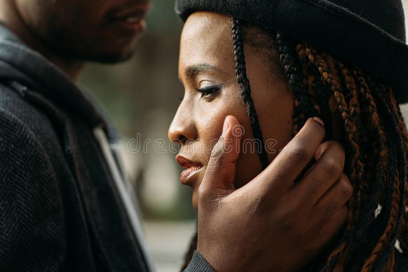 Gentle touch. Tender love relationship stock images