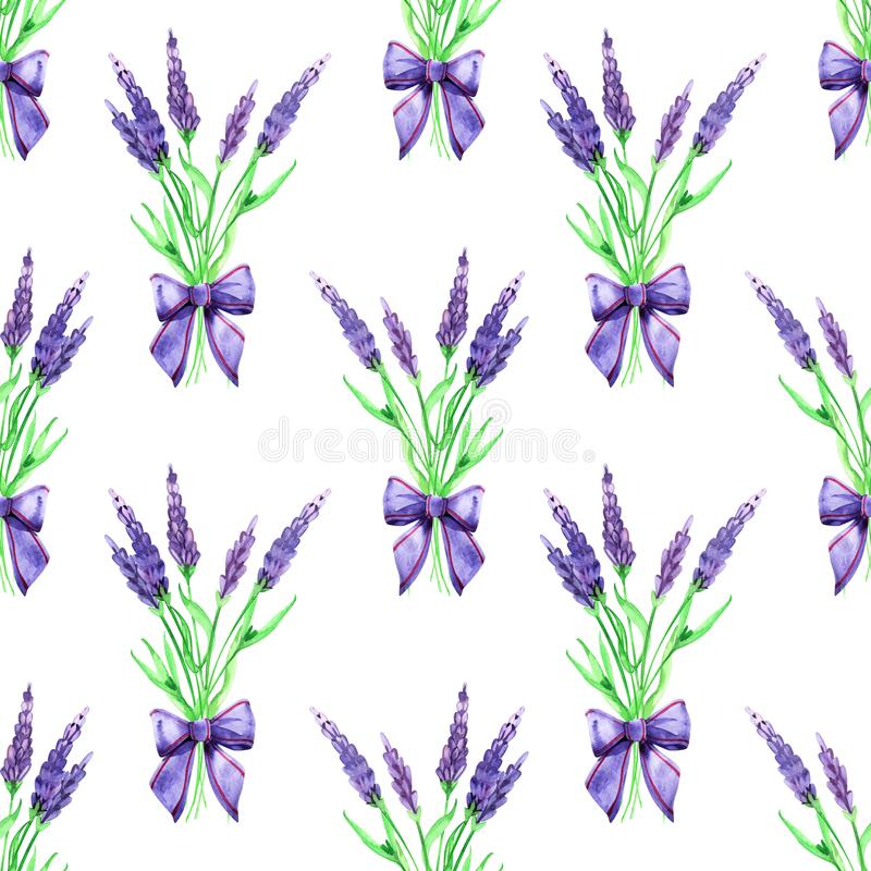 Gentle watercolor floral lavender seamless. Hand painting. Watercolor. Seamless pattern for fabric, paper and other stock photo