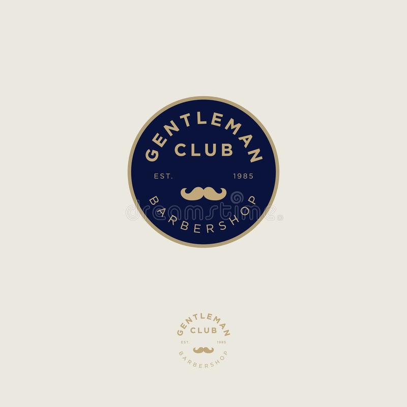 Gentleman club. Barbershop logo. Golden letters and mustaches in a dark blue circle. Male salon logo. Premium icon or sign. royalty free illustration
