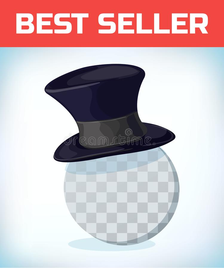 Gentleman cylinder hat. Masquerade costume headdress. Carnival or Halloween mask. Cartoon Vector illustration stock illustration