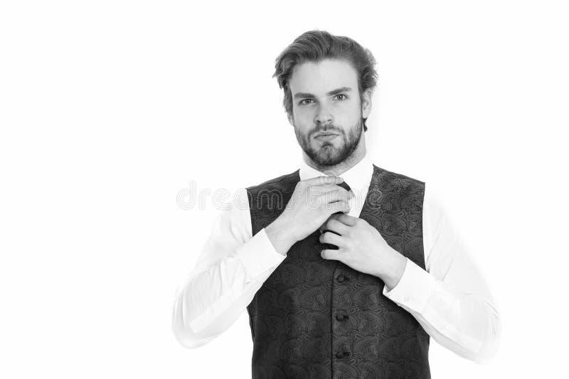 Gentleman eller man eller allvarlig gentleman i waistcoat och band royaltyfria foton