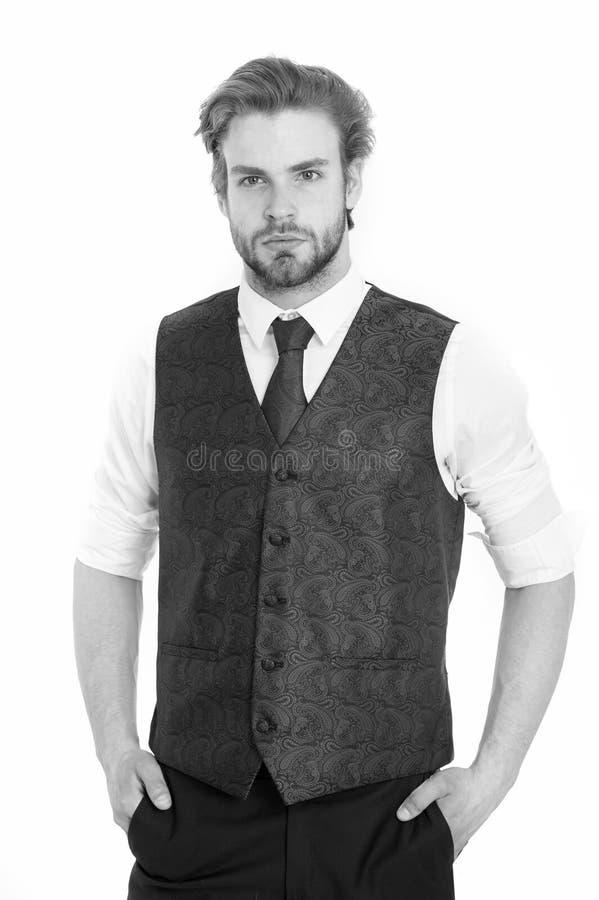 Gentleman eller man eller allvarlig gentleman i waistcoat och band royaltyfri fotografi