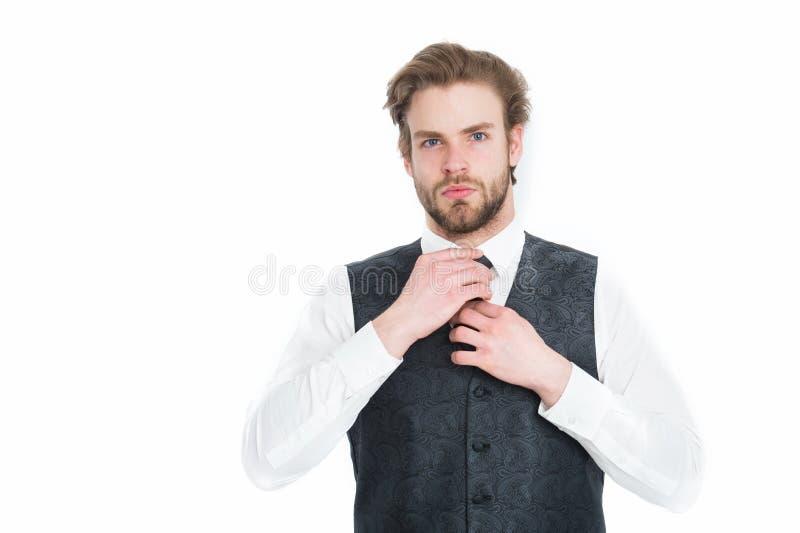 Gentleman eller man eller allvarlig gentleman i waistcoat och band royaltyfri foto