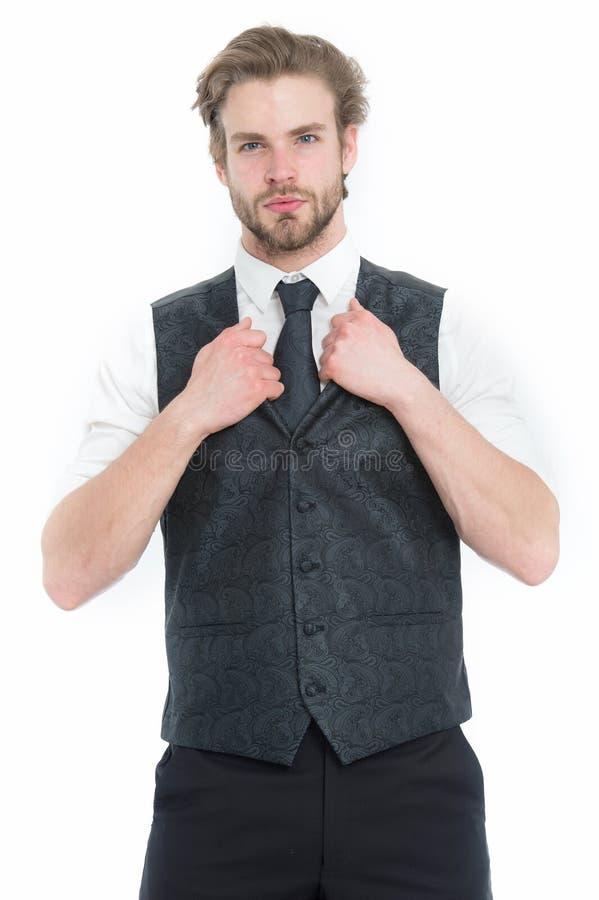 Gentleman eller man eller allvarlig gentleman i waistcoat och band fotografering för bildbyråer