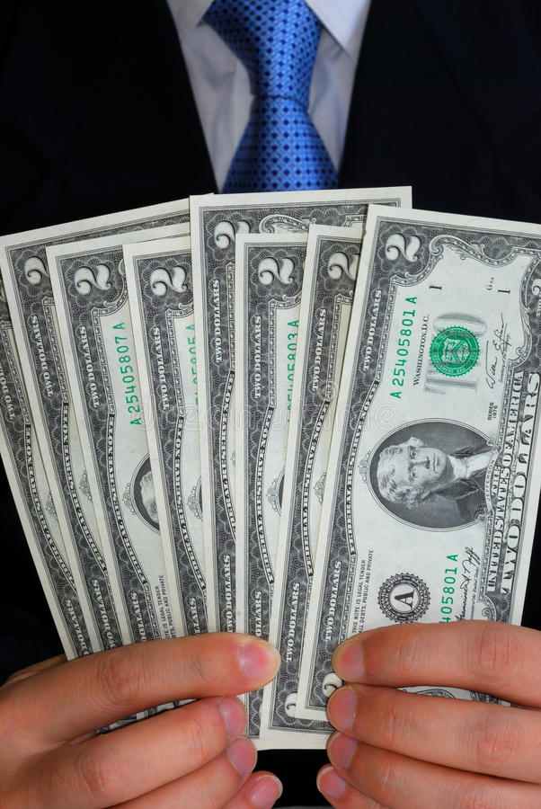 Download A Gentleman Holding Some United States $2 Dollar B Stock Image - Image: 11345201