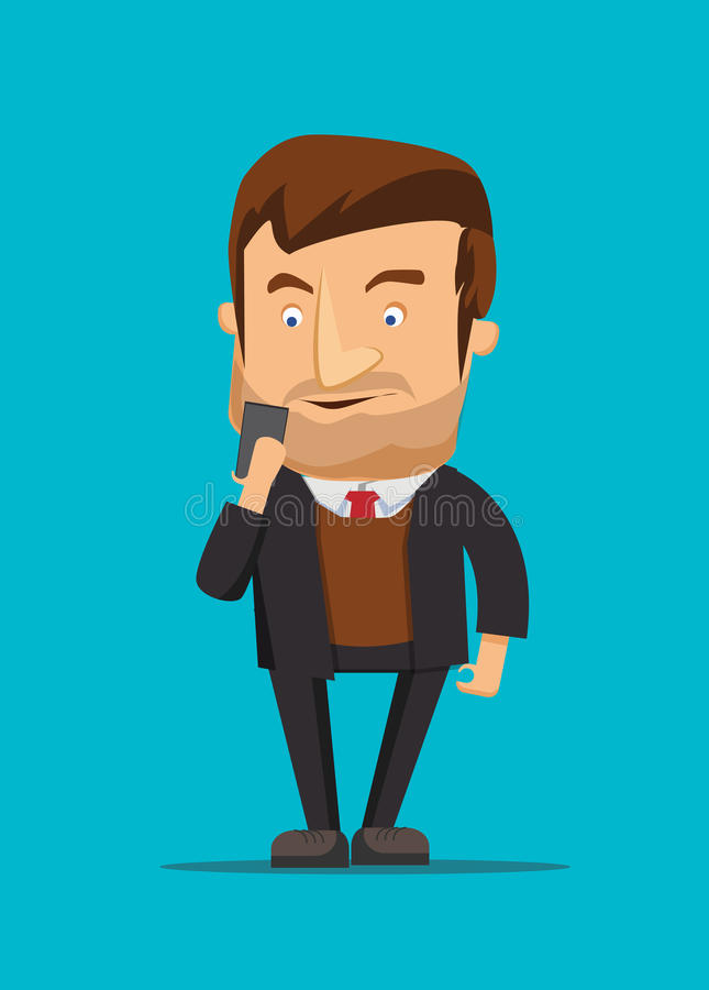 Gentleman holding and using new android phone image illustration vector illustration