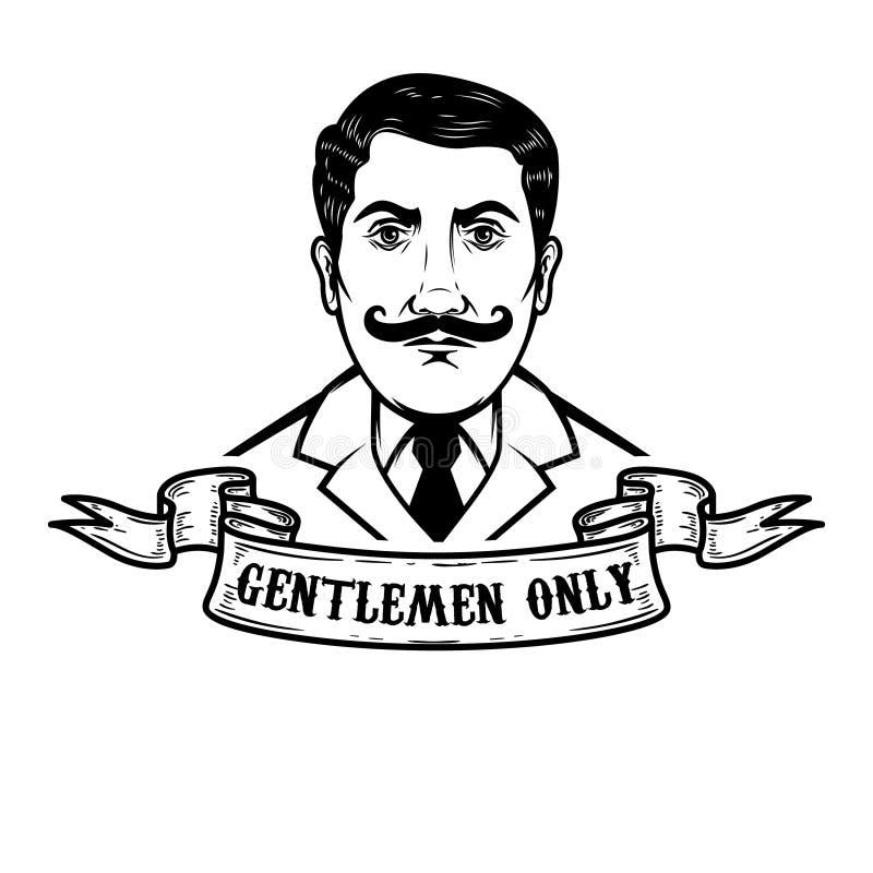 Gentleman Illustration Isolated On White Background Design Element For Poster Emblem Sign Logo Label Stock Vector Illustration Of Face Elegant 106581032