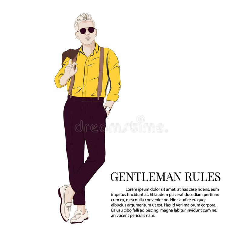 Gentleman look Vector illustration. Cool business elegant outfit Boss wearing smart street style clothes fashion sketch stock illustration