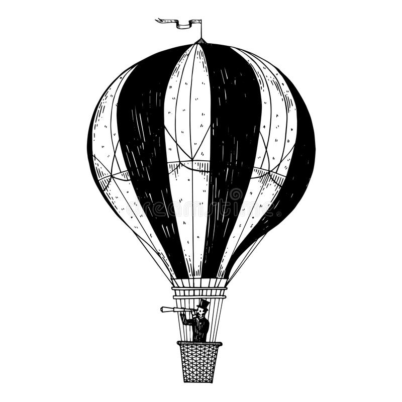 Vintage air balloon engraving vector illustration. Gentleman looks in telescope in a basket of air balloon. Vintage aerostat transport vector illustration royalty free illustration