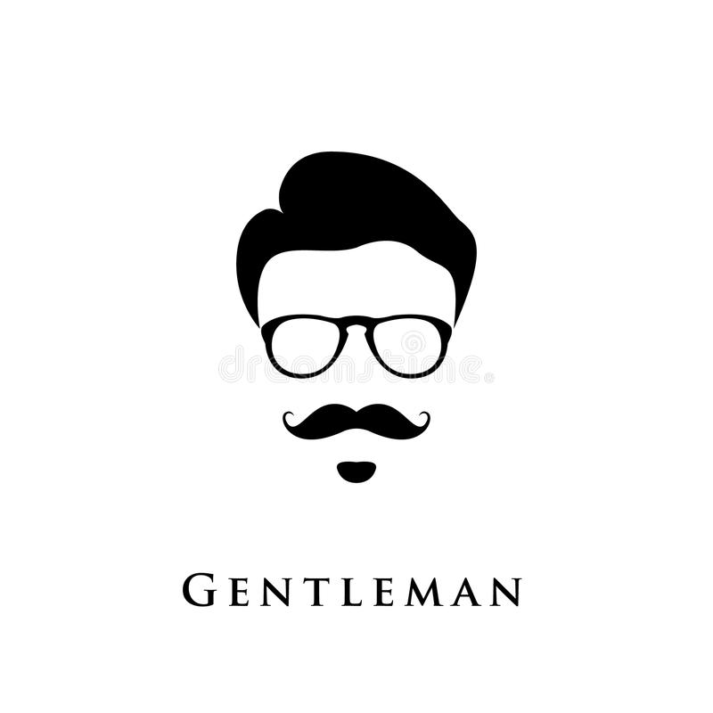 Gentleman portrait. Man with hairstyle, mustache and eyeglasses stock illustration