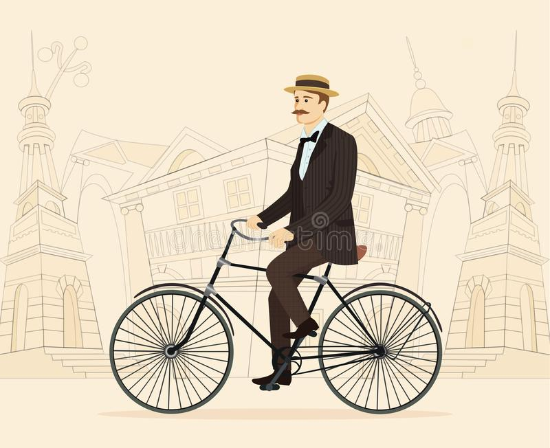 Gentleman on retro vintage old bicycle on old city background royalty free stock image
