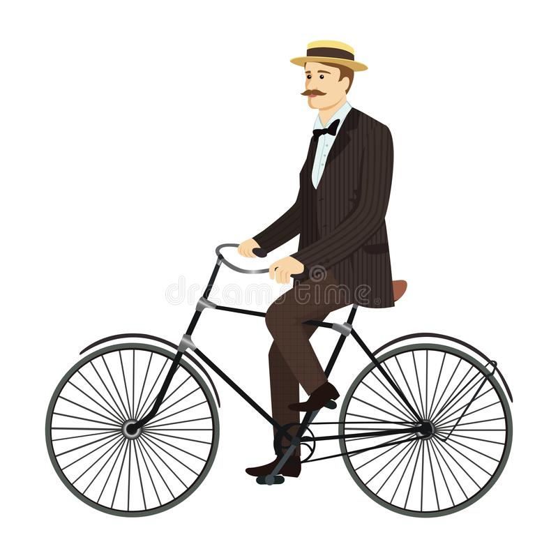 Man on retro vintage old bicycle gentleman vector stock photography