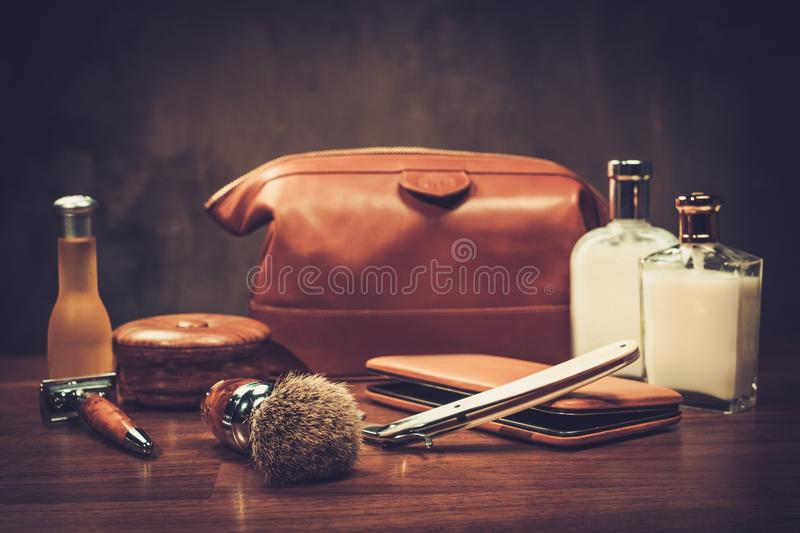 Gentleman's accessories on a luxury Wooden board royalty free stock photography