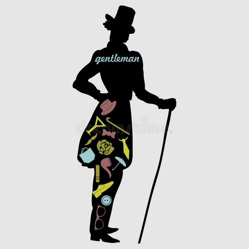 Gentleman's silhouette with various accessories stock illustration