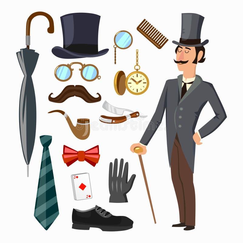 Gentleman`s supply set. Hat, umbrella, gentleman, tie, glove, man etc. Vector cartoon illustration stock illustration