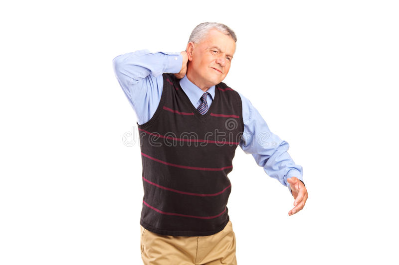 A Gentleman Suffering From A Neck Pain Stock Photography