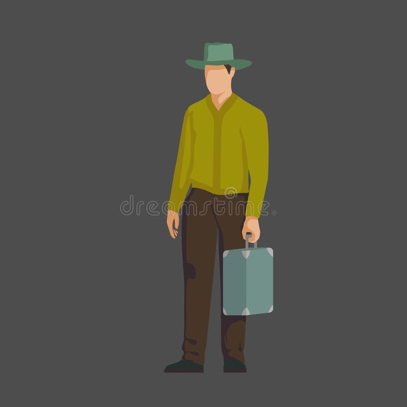 A gentleman with a suitcase. 20th century. Vector. Each layer by name. - Vector vector illustration