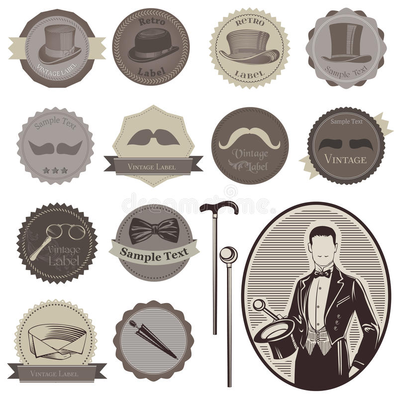 Download Gentleman Tillbehöretiketter Vektor Illustrationer - Illustration av gravyr, stående: 27281643