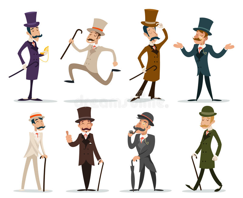Character Design Icon : Gentleman victorian business cartoon character icon set