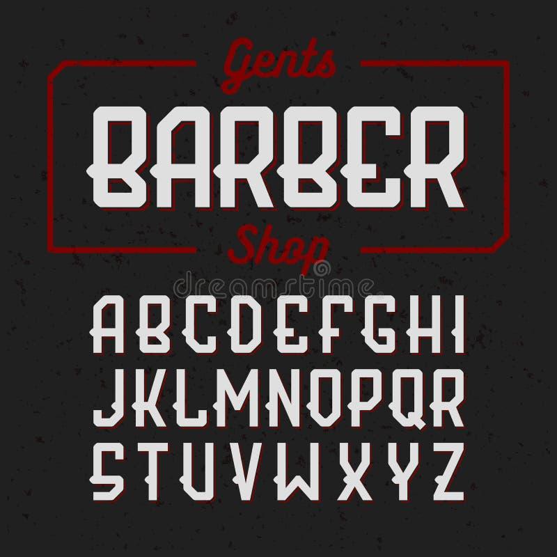 Gentlemans Barber Shop vintage style font vector illustration