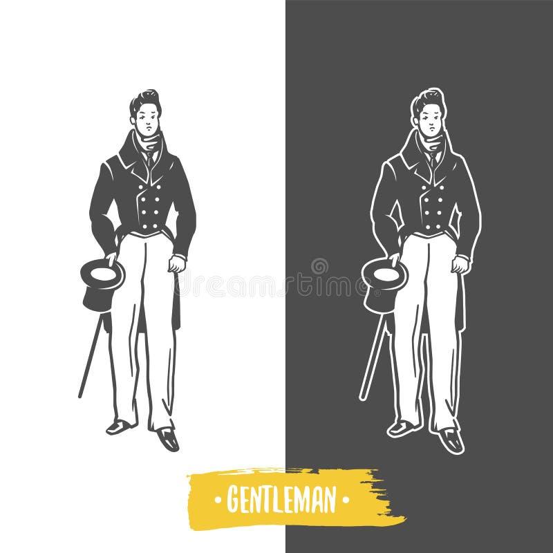 Gentlemans Czarny i biały wektorów przedmioty ilustracja wektor