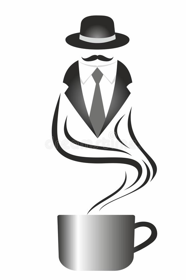 Gentlemans kopp kaffe stock illustrationer