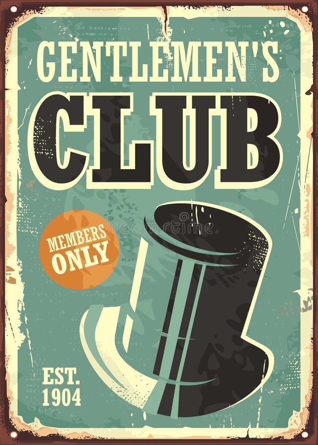 Gentlemen Club Retro Poster Design Stock Vector