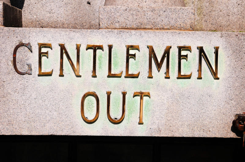 Gentlemen Out Toilet Sign royalty free stock photo