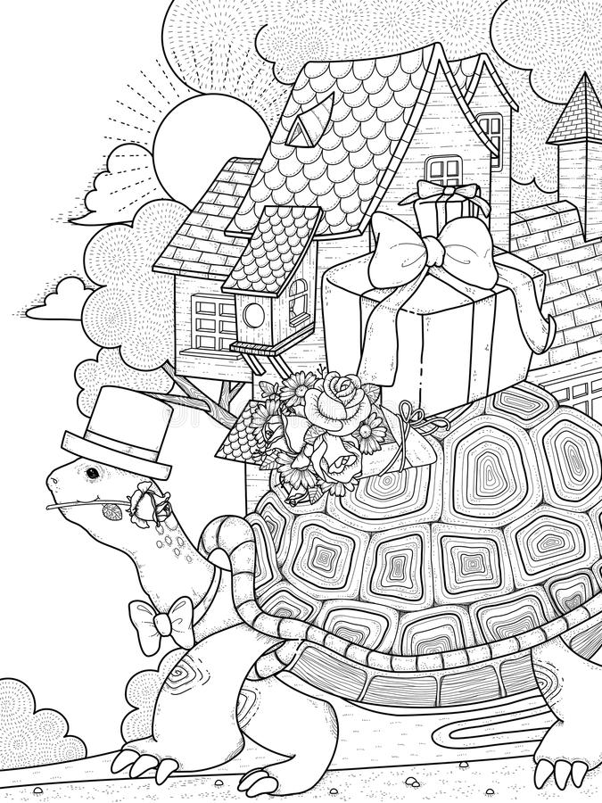 Free Gentlemen Turtle Adult Coloring Page Stock Photography - 70979072