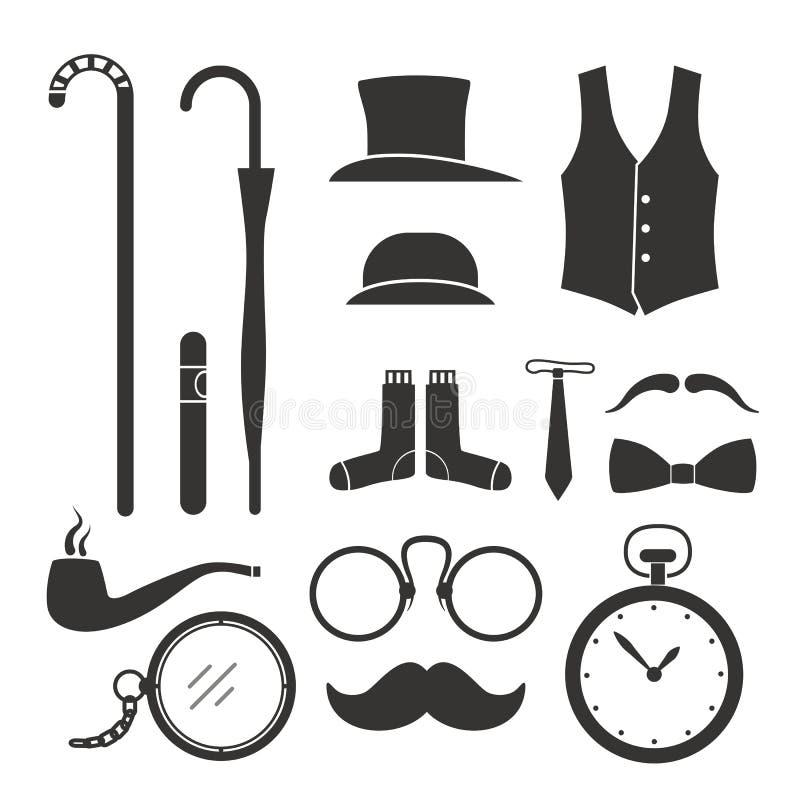 Gentlemens stuff design elements vector illustration