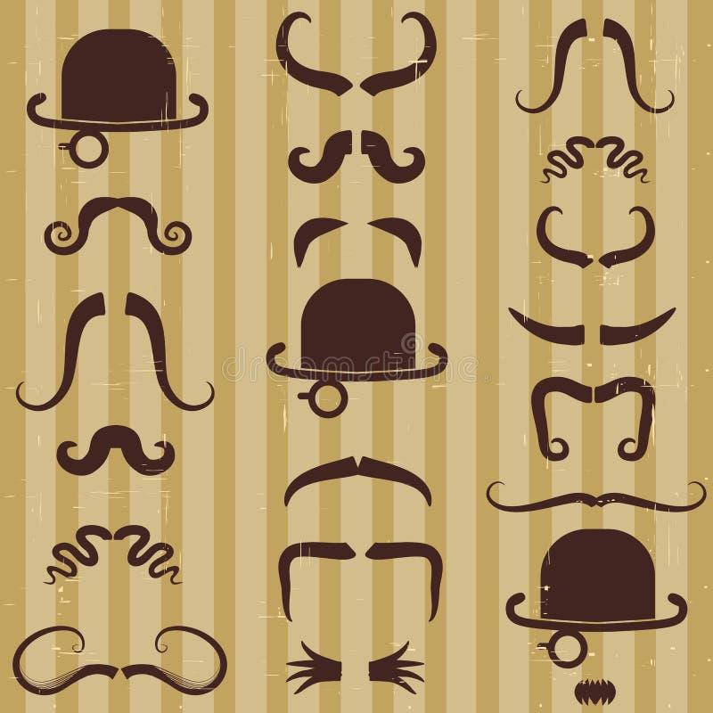 Gentlement z wąsy i kapeluszem na roczniku   ilustracja wektor