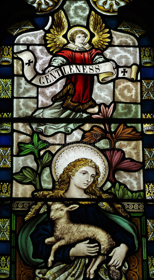 Gentleness in stained glass stock photo