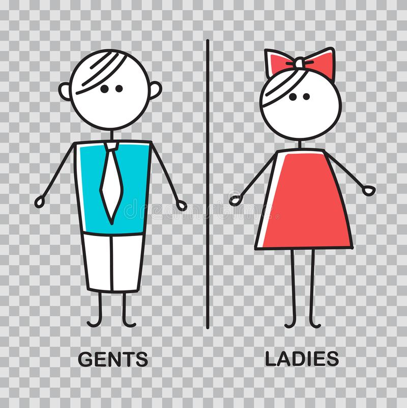 Free Gents And Ladies WC Sign For Restroom. WC Icon. Royalty Free Stock Image - 107928296