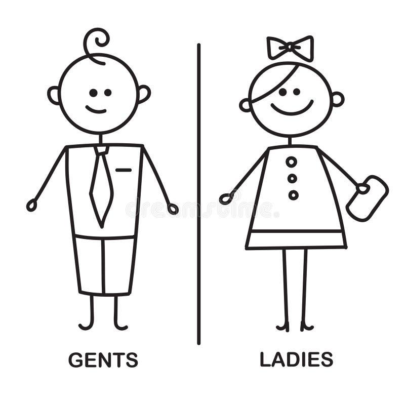 Gents i dam WC znak dla toalety WC ikona ilustracja wektor