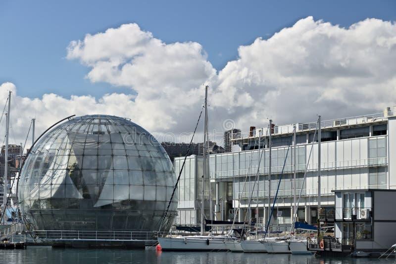 genua Alter Hafen und Aquarium lizenzfreie stockbilder
