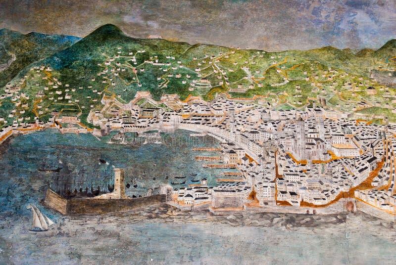 GENUA, ITALIË - MAART 29, 2014: Freskomuurschildering die afschilderend de stad van Genua in de XVI eeuw schilderen stock foto's