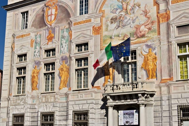 Genua, Itali? 04/05/2019 Paleis van San Giorgio royalty-vrije stock afbeelding