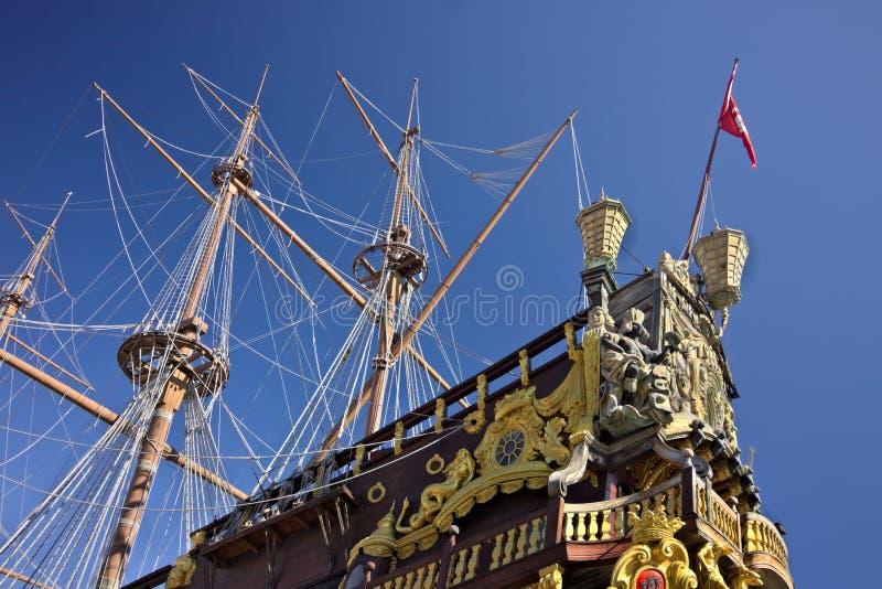 genua Neptun-Galeone verankert im Hafen stockfotografie