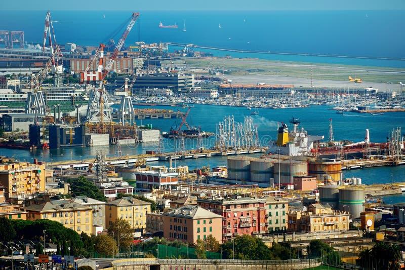 Genua port dokuje, widok od above, Liguria, Włochy fotografia stock