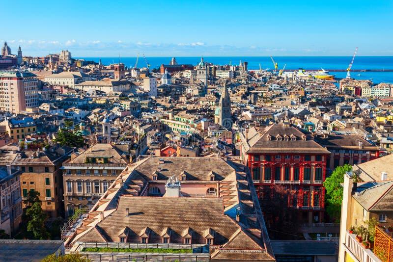 Genua powietrzny panoramiczny widok, Włochy zdjęcia royalty free
