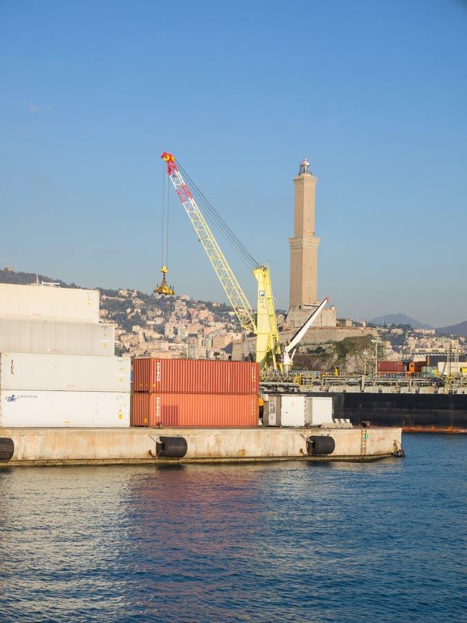 Genua-` s berühmter Marksteinleuchtturm lizenzfreie stockbilder