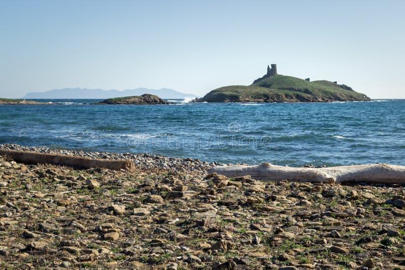Genueńczyka wierza na wyspie blisko plaży w Corsica, obraz royalty free