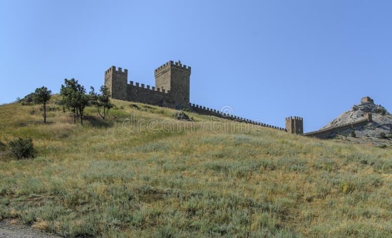 Genue fortress wall in Sudak stock image