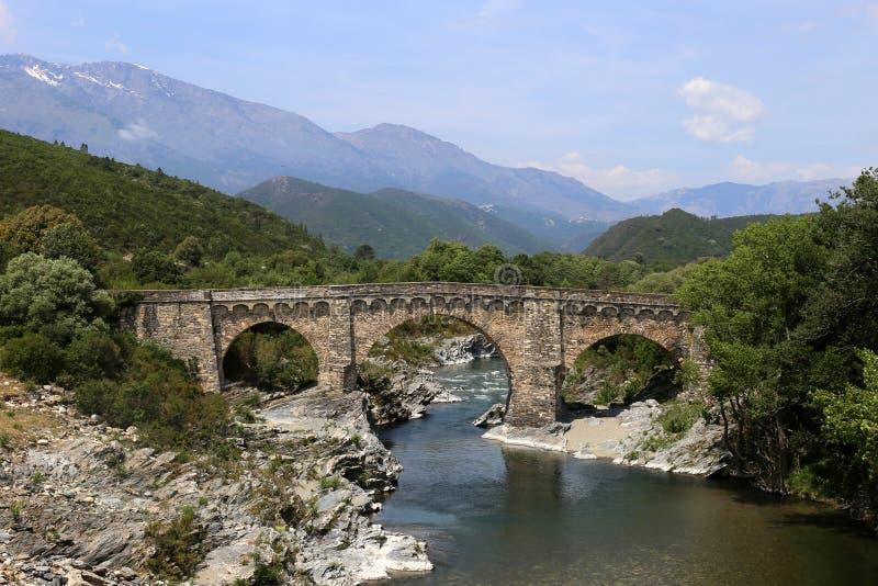 Genuese-Brücken-Überfahrtfluß Tavignano, Korsika, Frankreich lizenzfreie stockfotografie